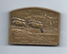 Belgian Gembloux 1910 Antique Bronze Medal Man Farmer Cow Oxen Wagon Agriculture