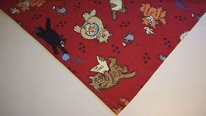 Cat Bandana Red Cats Kittens Mice Cat Prints Tie On  xS,S,M,L
