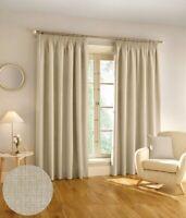 Harvard Woven Textured 3 Pass 100% Blackout Pencil Pleat Curtains Natural
