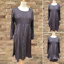 Masai Smock Dress M Grey Stem Cell Print Glossy Pockets Lagenlook Boho UK 12 14
