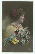 c 1912 Vintage Glamour PRETTY YOUNG LADY pinup tinted photo postcard