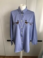 Vtg Blue Flou Shirt ToP Embroidered Birds Duck Country 40 12 90s Check Cotton