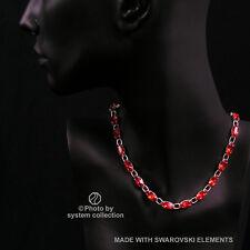 Navette Kette mit Swarovski Elements: Siam Rot