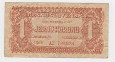 Czechoslovakia banknotes - 1 Koruna 1944, JEDNU KORUNU 1944 !