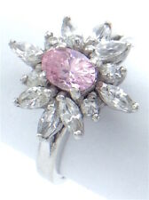 Vintage Women Ladies Size 7 US Rose Quarts Pink Stone Sterling Silver Ring G552