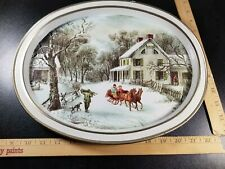 Vintage The American Homestead Currier and Ives Oval Tin Tray ~ Winter 1868.