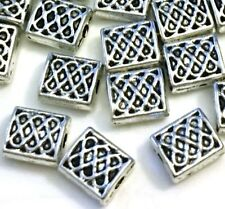 20 Antique Silver Pewter Rectangle 7x5mm Pattern Decorative Filigree Beads