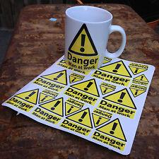 warning man at work jumbo mug and A4 sheet of man at work stickers