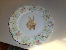 "New  222 FIFTH Sydney 10 1/2"" Plate Bunny Rabbit w/ flowers"