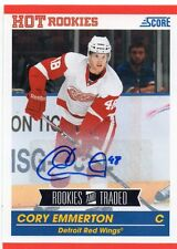 cory emmerton detroit red wings auto card 2011/12 score hot rookies 606