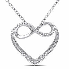 Sterling Silver Diamond Heart Infinity Pendant Necklace H-I I2-I3