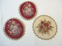 """3 Vintage Doilies Tapestry with Lace Trim 9"""""""