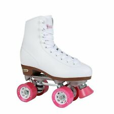 Chicago Classic Roller Skates, White with Pink