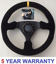 SUEDE STEERING WHEEL AND SNAP OFF QUICK RELEASE BOSS KIT HUB FIT BMW E36 DRIFT