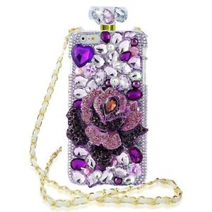 for iPhone X XR 7 8 11 12 13 Pro Max Bling Diamonds Perfume Anti Fall Phone Case