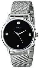 AUTHENTIC GUESS MEN'S BLACK DIAL SILVER TONE WATCH W0280G1 Brand New RRP:$379