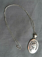 KOKOPELLI STERLING PENDANT AND CHAIN NAVAJO NATIVE AMERICAN