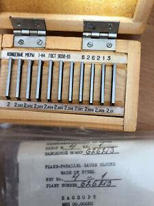 Precision Metric Slip Gauge Block Set  (2 - 2.01 ) mm 11 pcs USSR Plan Parallel
