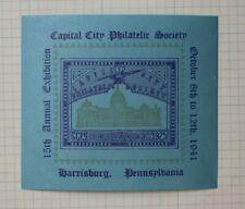 Capital City Society Harrisburg Pa 1941 Ccps Expo Philatelic Souvenir Ad Label