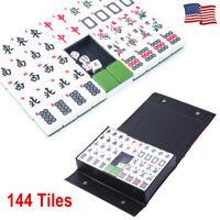 Chinese Mahjong Set 144 Tiles Mah Jong Rare Game Travel Gift w/English Charactor