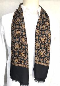 Mens Vintage SILK Scarf Paisley Retro Cravat 70's Gents Necktie 100% SILK
