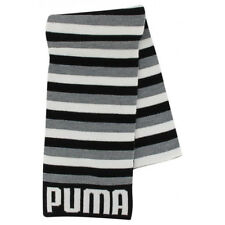 PUMA Scarf Unisex Woolen Grey White Black Striped Leisure Neck Wear