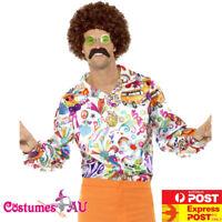 Mens Groovy Shirt Multicolour 60s 70s Hippie Hippy Retro Disco Costume 1960s Top