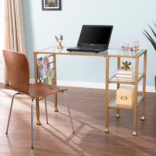 Amelie Gold Metal/Glass Writing Desk