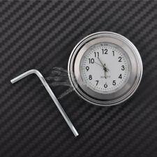 "7/8"" 1"" Motor Chrome Waterproof White Dial Handlebar Clock Glow Watch For Honda"