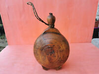 OLD ANTIQUE PRIMITIVE HAND CARVED PAINTED WOODEN VESSEL FLASK WINE BOTTLE