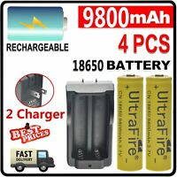 Combo 4pcs 3.7V rechargeable batteries+ 2pcs Dual charger for flashlight LED US