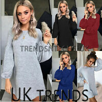 Womens Puff Sleeve Pullover Tops Knitted Winter Baggy Jumper Sweater Mini Dress