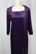 Style Studio Womens Medium Purple Velour Long Sleeve Long Modest Dress BEADED
