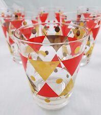 Vintage 50s 60s Gay Fad Heavyweight Glasses Mid Century Modern Set of 8 Diamonds