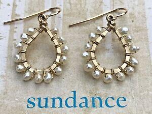 "NEW $138 Sundance 1-1/4"" Pearl 12k Gold GF Handmade Dangle Teardrop Earrings NWT"