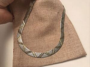 Vintage Milor Italy 925 Sterling Silver Wide Thick Textured Herringbone Necklace