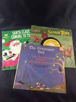 "Vintage Christmas Records Lot of 3 7"" 45s Santa Claus is Coming Drummer Boy"