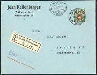 SCHWEIZ 1926, MiNr. 194 x, Einzelfrankatur auf Auslands-R-Brief