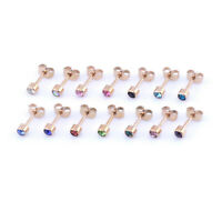 ROSE GOLD Plated CZ CRYSTAL GEM EAR STUDS Earrings Various Colours (Pair Of)