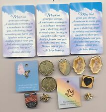 Lot Of 14 Religious Angels Coins Cards Peace Doves Troops Hat Lapel Pins