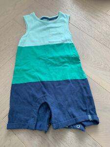 F&F Sleeveless All In One Romper Baby Boys Blue Green Striped Bodysuit 12-18