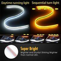 2PCS 30CM Auto LED Strip Turn Signal Switchback Indicator Daytime Running Lights