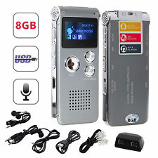 8GB Digital Audio Voice Sound Recorder 650 hr MP3 Player Rechargeable Dictaphone