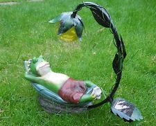 Frosch auf einer Liege Solarleuchte Leuchte Solar Standleuchte