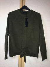M&s Autograph Olive Green Pure Cashmere Ribbed Tie Front Jumper Size 8