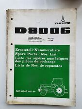 DEUTZ FAHR D8006 TRACTOR PARTS CATALOGUE