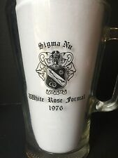 Vintage 1976 WHITE ROSE FORMAL Sigma Nu Clear Glass BEER PITCHER + Member List