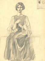 S. Barnes Robson (1900-1973) - Graphite Drawing, Seated Lady II