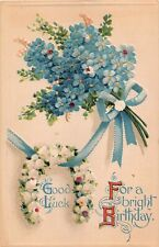 Bouquet of Forget-Me-Nots by Horseshoe of Lily of the Valley-1909 Birthday PC