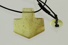 THOR'S HAMMER Mjolnir Genuine BALTIC AMBER Pendant on Leather 4.9g p171024-3